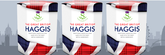 Gold medal winning traditional Scotch Haggis dressed in a new coat of red, white and blue with a subtle hint of tartan